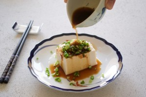 Hiyayakko - cold tofu with toppings and soy sauce