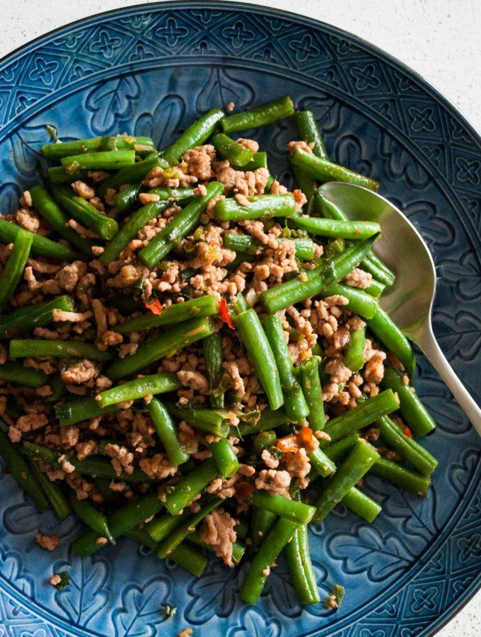 Beans and Pork Mince Stir Fry