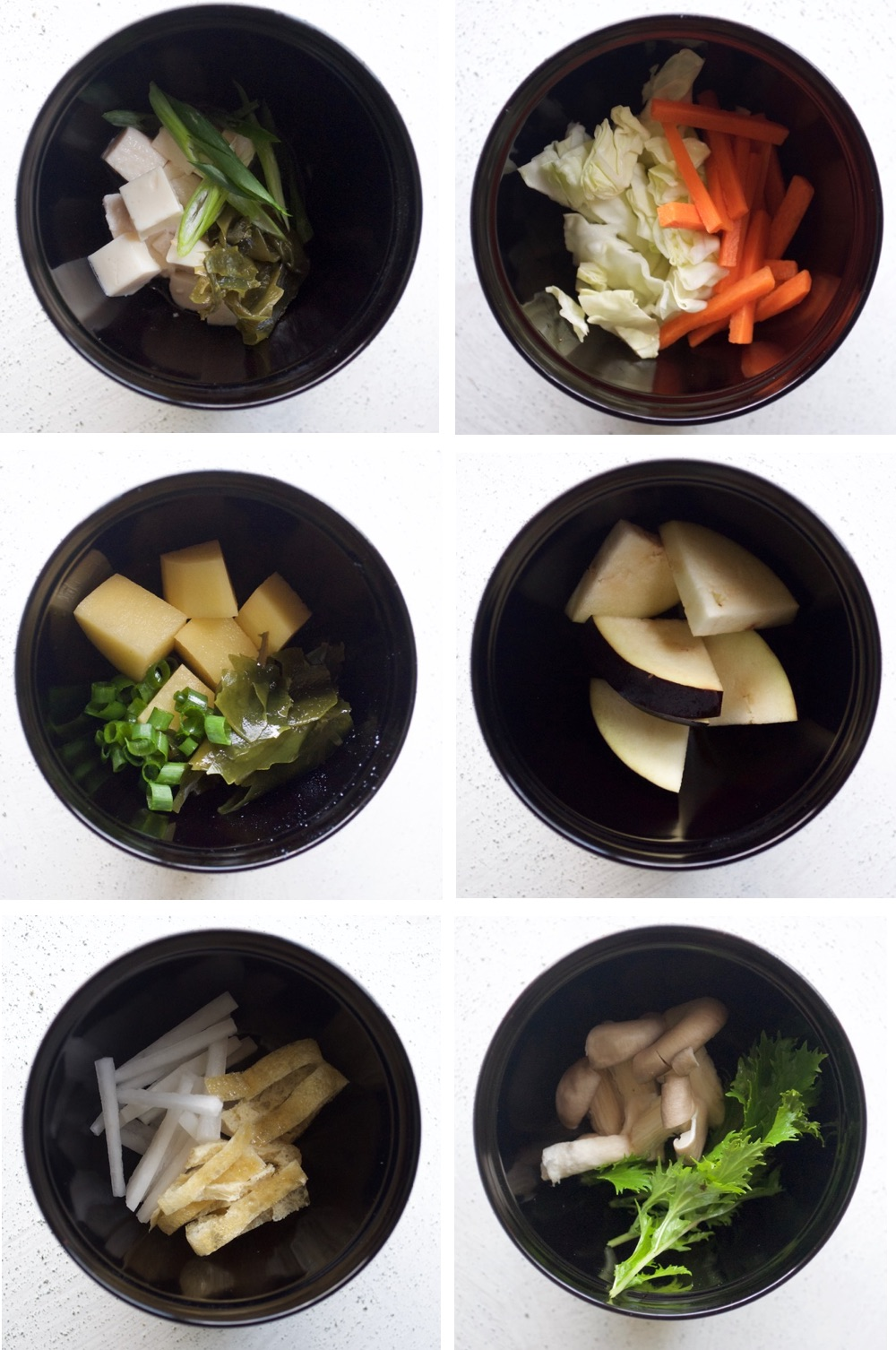 Miso soup ingredient combinations which are my favourites. You can be very creative and come up with many different combinations.