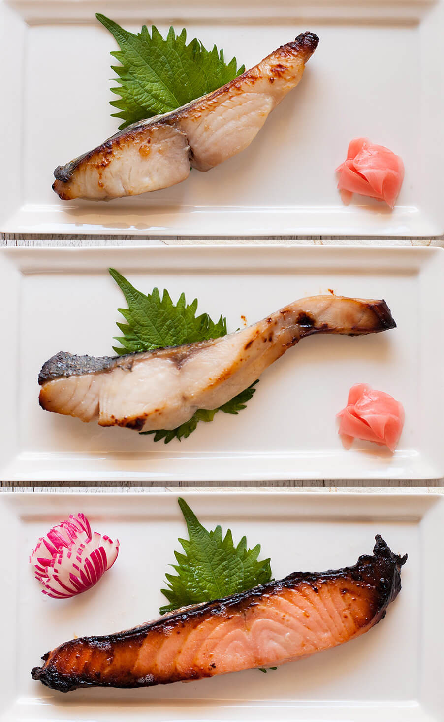 Saikyo Yaki Fish showing three different grilled fish.
