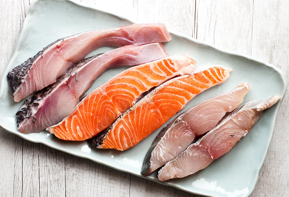 Three kinds of fish fillets used in Saiky Yaki Fis - Cod, Salmon and Spanish mackerel.