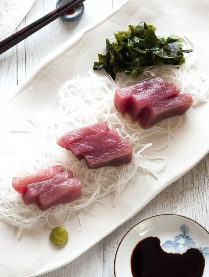 Sashimi is a simple dish – no cooking, just slicing. All you need is fresh fish, soy sauce and wasabi (Japanese horseradish). There are a couple of rules for slicing the fish fillet but once you get it, it's so easy.