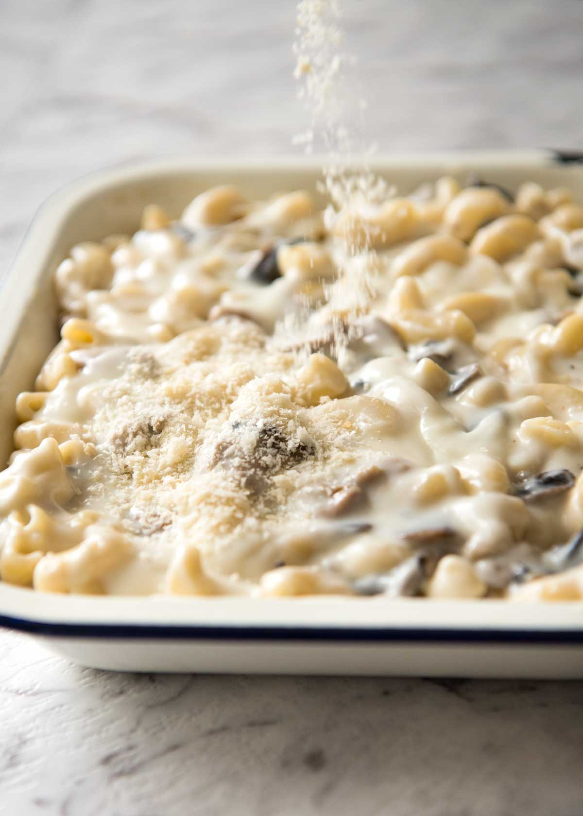 Chicken Macaroni Gratin - A classic Japanese comfort food, this is a creamy pasta bake made with macaroni, chicken, mushrooms and a creamy béchamel sauce. www.japan.recipetineats.com