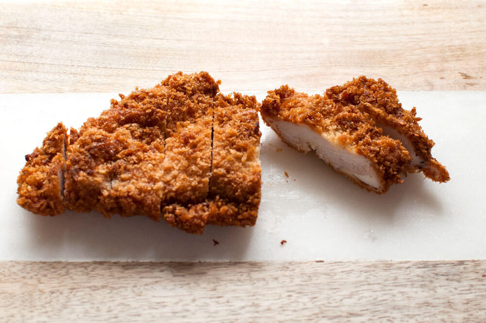 Chicken Cutlet cut into strips.