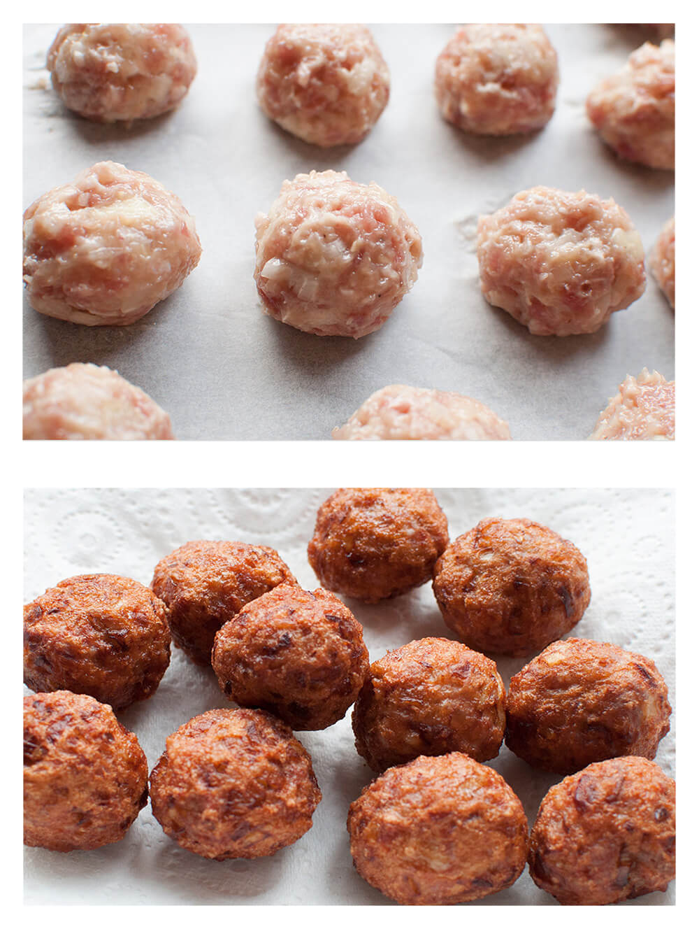 Japanese Pork meatballs are deep fried meatballs coated in flavoursome sauce. By just changing the sauce, you will get quite different meatball dishes – one with sweet and sour sauces, one with weet soy sauce like teriyaki sauce. Both are really tasty.