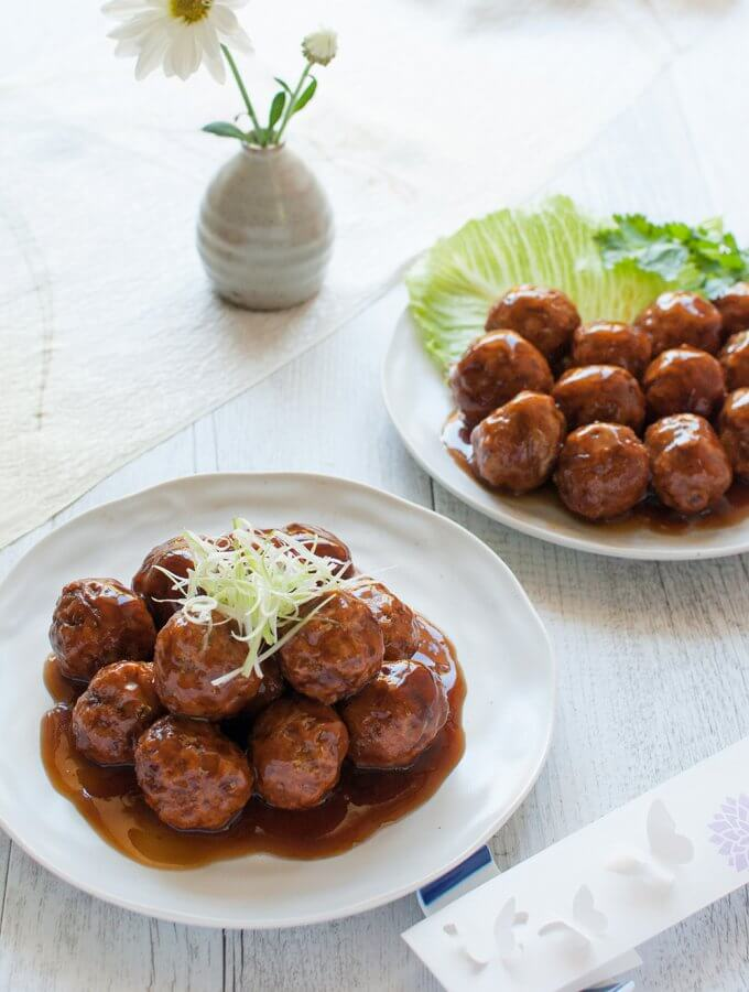 Japanese Pork Meatballs (Niku-dango) with Two Sauces