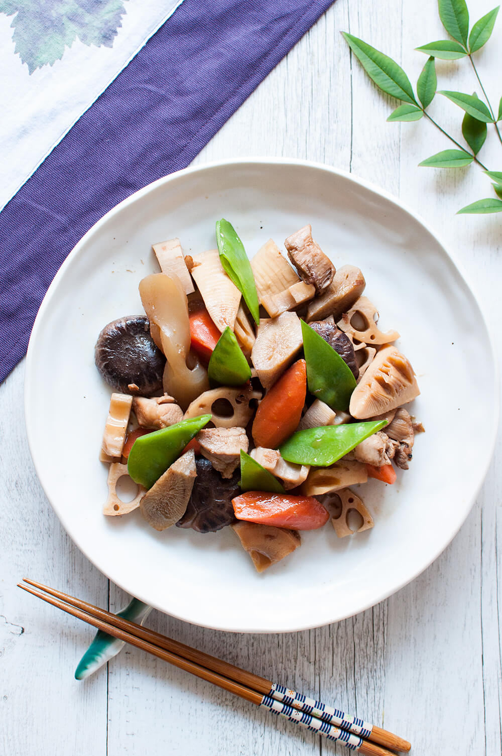 The flavour of Simmered Chicken and Vegetables, Chikuzenni, is a typical combination of dashi, soy sauce, mirin, sake and sugar but the ingredients are stir-fried first so the dish is much richer than other simmered dishes.
