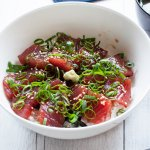 Super easy meal with sashimi quality tuna is one of my favourites. Maguro no Zuke-don (Marinated Tuna on Rice) requires no cooking. Just marinate tuna slices and place them on the cooked rice, topped with garnish.