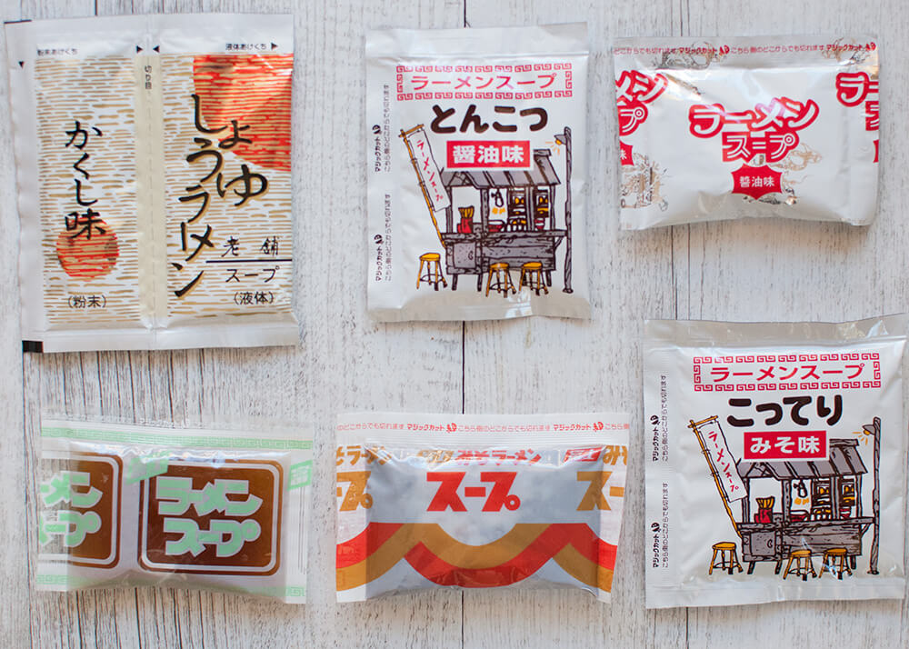 Various kinds of condensed ramen soup.