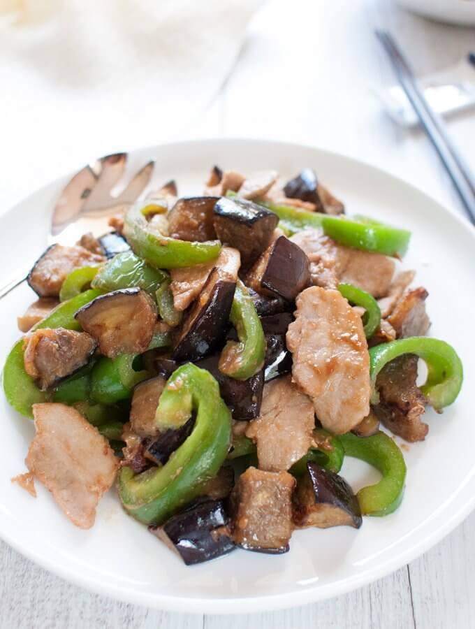 Miso Stir Fry with Eggplant, Capsicum and Pork