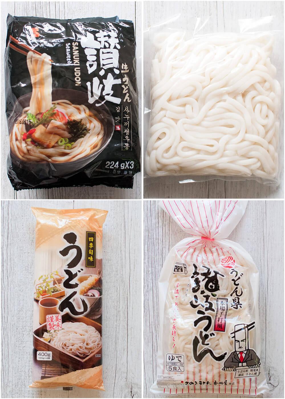 Varieties of udon noodles