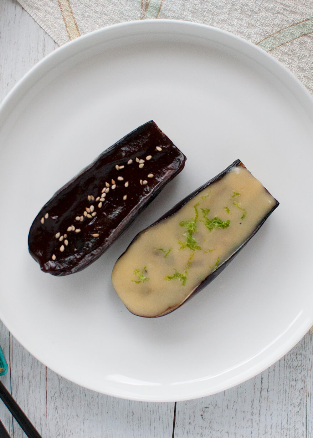 an-fried eggplant topped with sweet miso sauce, Miso Grazed Eggplant (Nasu Dengaku) is a very simple side dish or appetiser. Sweet miso goes so well with eggplant, which melts in your mouth.