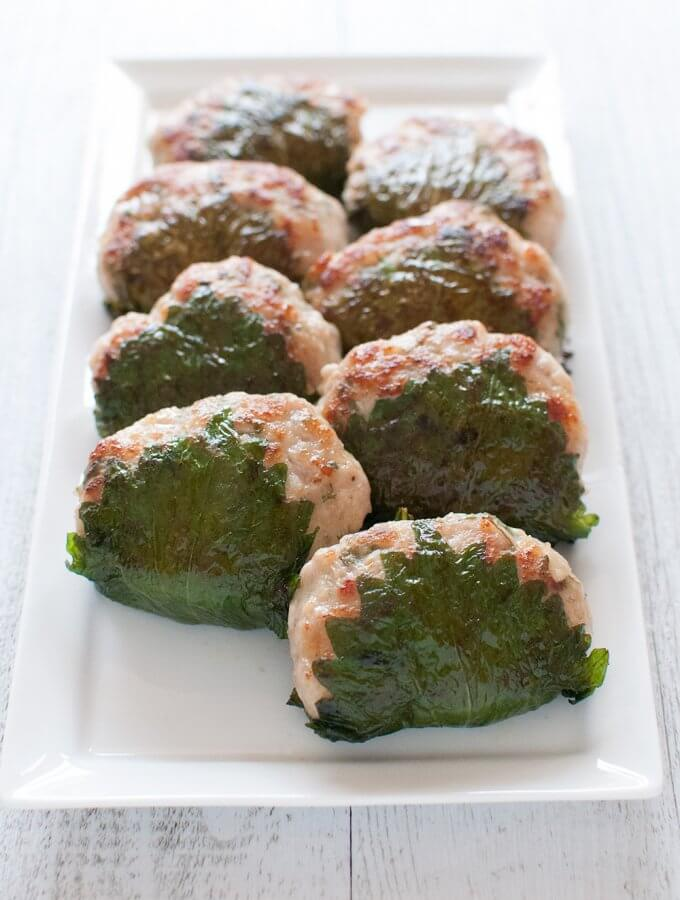 Chicken Patties Wrapped in Perilla