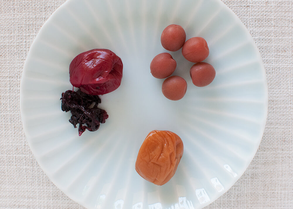 Different kinds of umeboshi.
