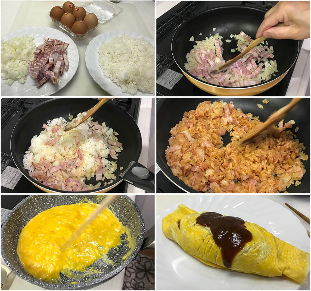 Japanese kids' favourite dish, omurice (Japanese Rice Omelette) is another Western-influenced Japanese dish. It is basically an omelette with ketchup-flavoured chicken fried rice inside it.