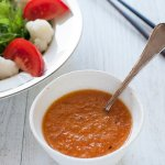 With a bright orange colour, Mixed Vegetable Salad Dressing is full of grated vegetables–it is 50% vegetables!