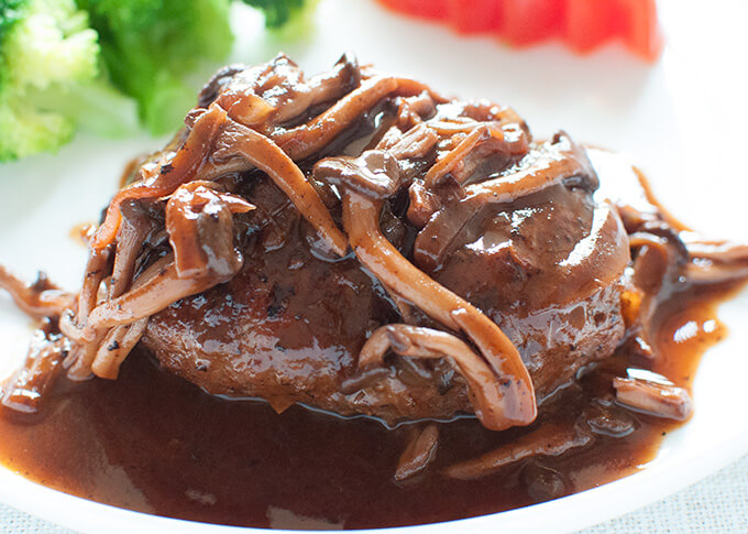 Zoomed-in photo of Stewed Hamburg Steak with Shimeji Mushroom Sauce