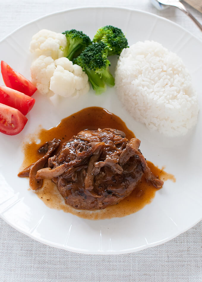 Stewed Hamburg Steak with rice and vegetables.