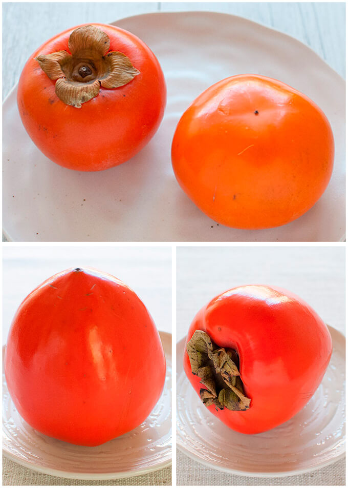 Fuyū persimmon (top) and HAchiya persimmon (bottom)
