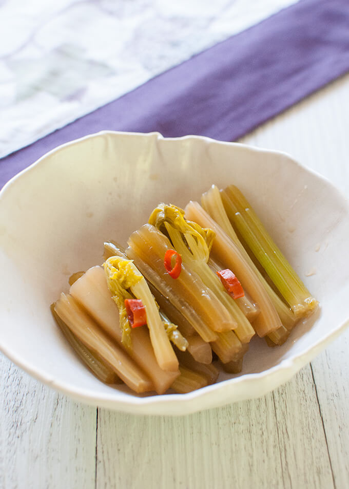 Pickled Celery in Fish Sauce served in a small bowl.