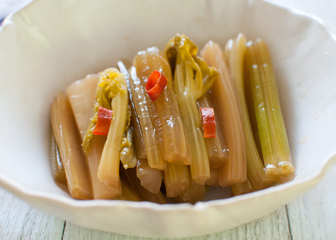Zoomed in photo of Picked Celery in Fish Sauce.