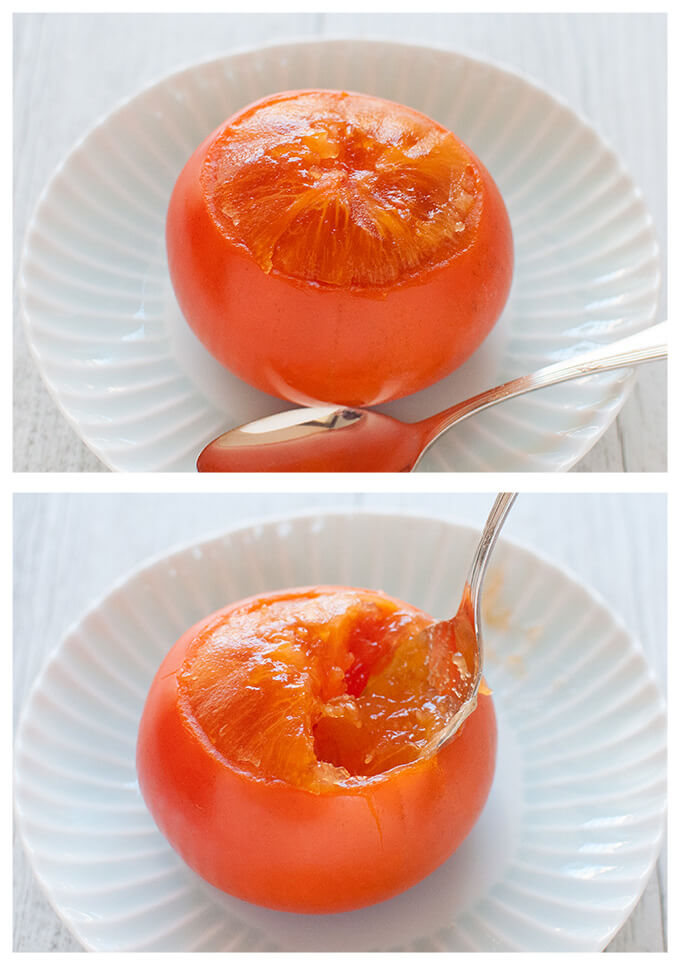 Jelly like ripen persimmon can be eaten with spoons.