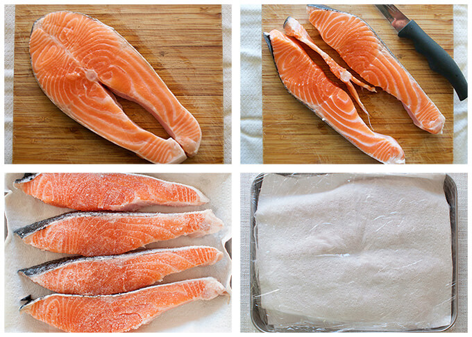 step-by-step image of salting salon fillets.