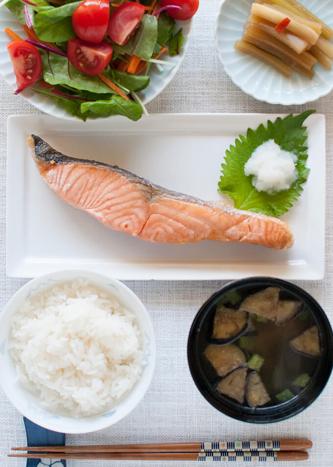 My breakfast that looks like salmon teishoku (set menu).