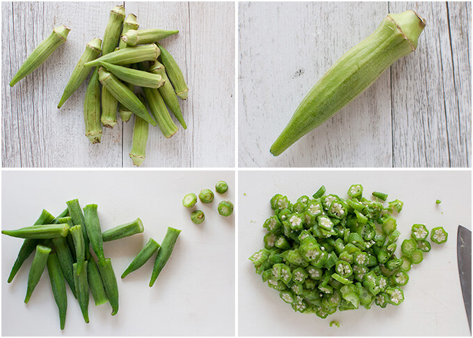 Photos of fresh, boiled and chopped okra.