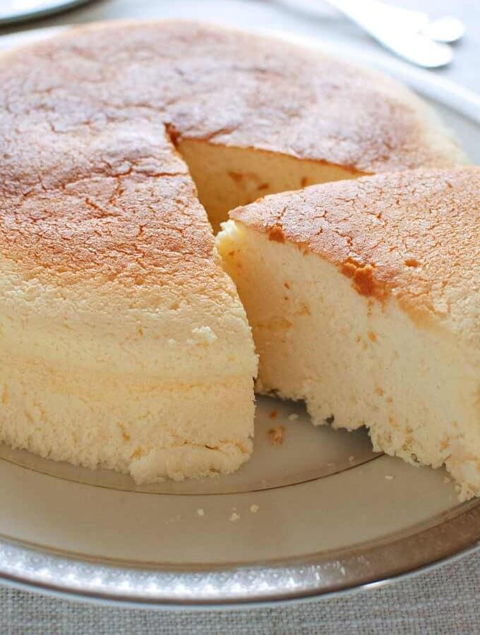Japanese Cheesecake with one portion removed.