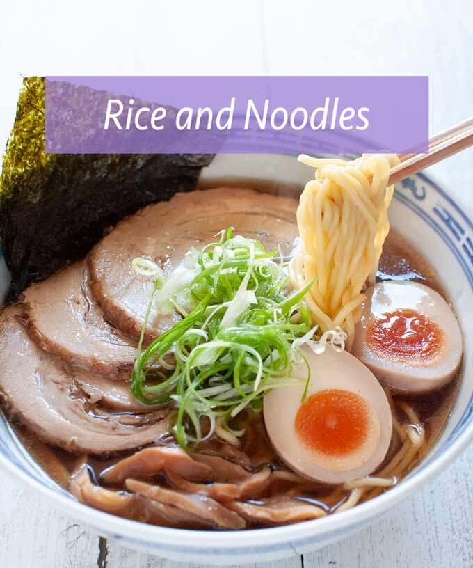 Collection of Rice Dishes and Noodle Dishes
