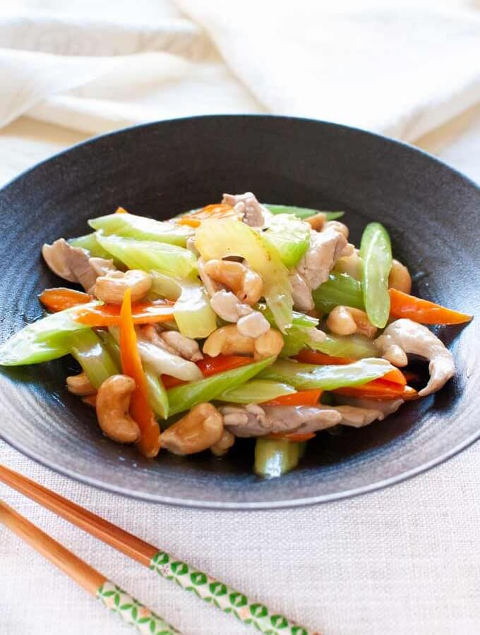 Chicken Stir Fry with Celery, Carrot and Cashew