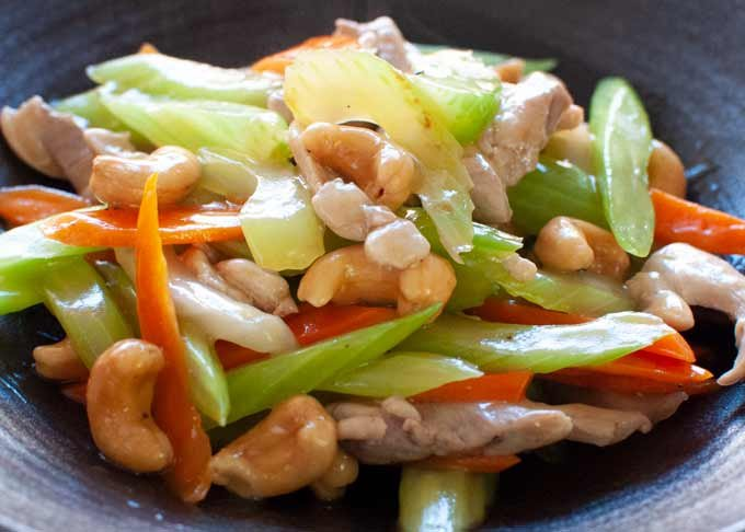 Zoomed-in view of Chicken Stir Fry with Celery, Carrot and Cashew