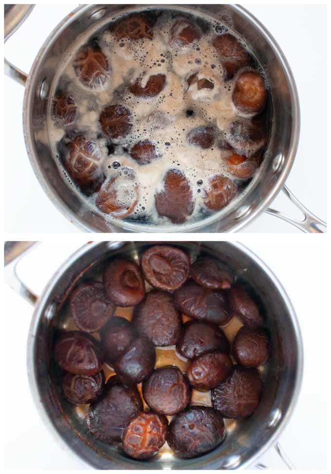 Two phots of ooking shiitake mushrooms in a pot, showing scum floating on the surface and after cooked through with hardly any liquid left in the pot.