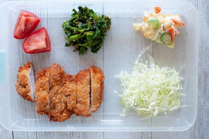 Ingredients of Tonkatsu Bento.