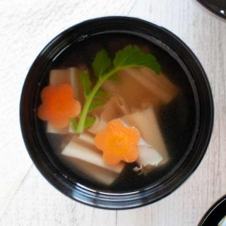Top-down view of Dried Tofu Skin Soup - Clear Soup.