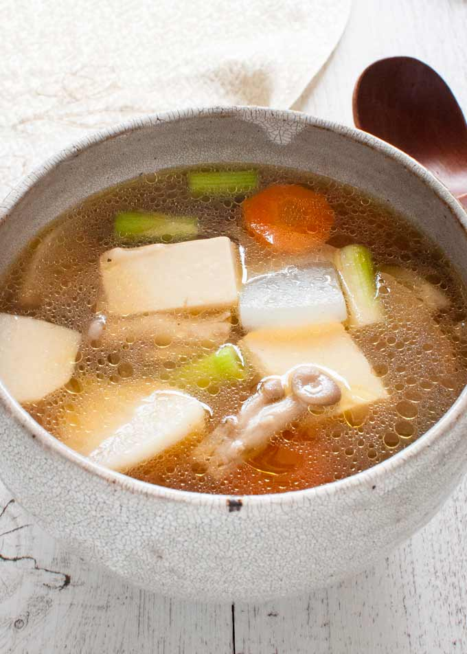Kenchin Jiru (Japanese Vegetable Soup) served served as a Western-style soup.