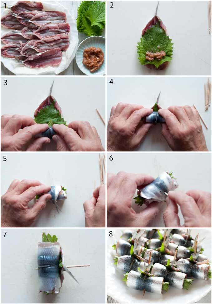 Step-by-step phots of how to roll stuffed sardines.