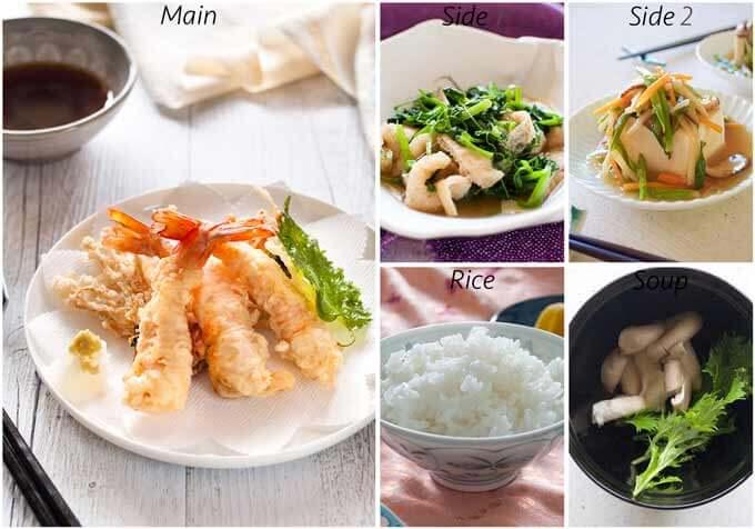Dinner idea with Snow Pea Leaves Nibitashi.