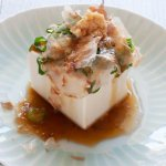 Chilled Tofu with Ginger, Shallots/Scallions and Bonito Flakes topping.