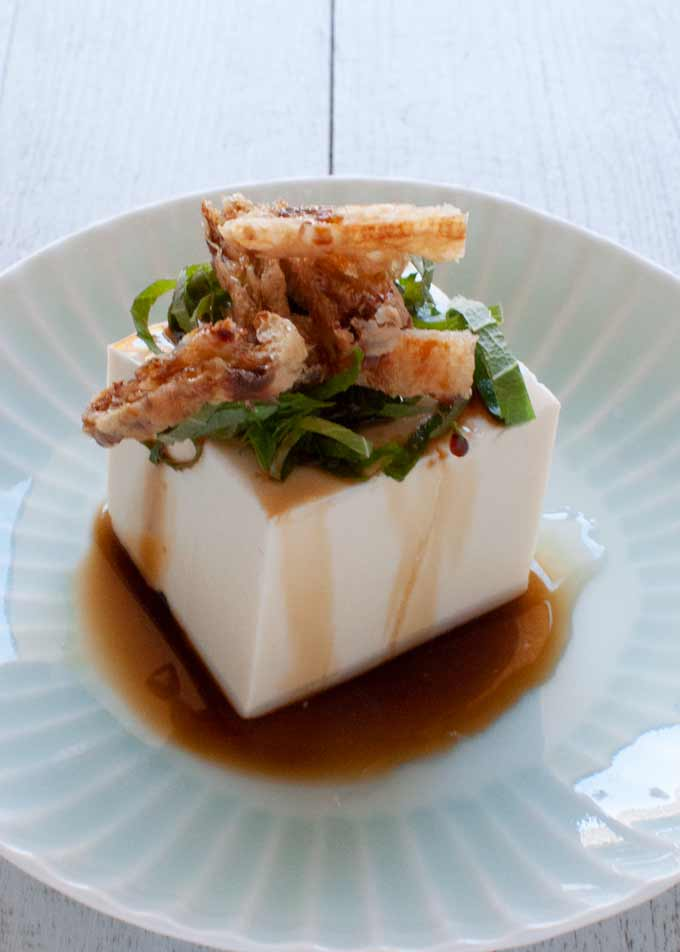 Chilled Tofu with Aburrage and Perilla topping.