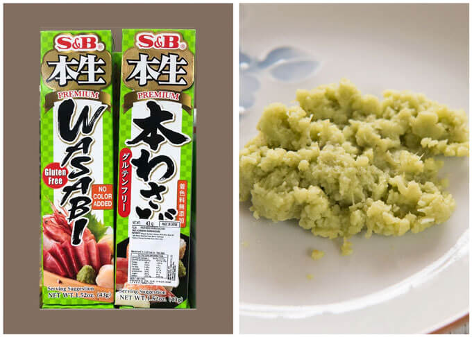 Photo of wasabi tube containing real grated wasabi.