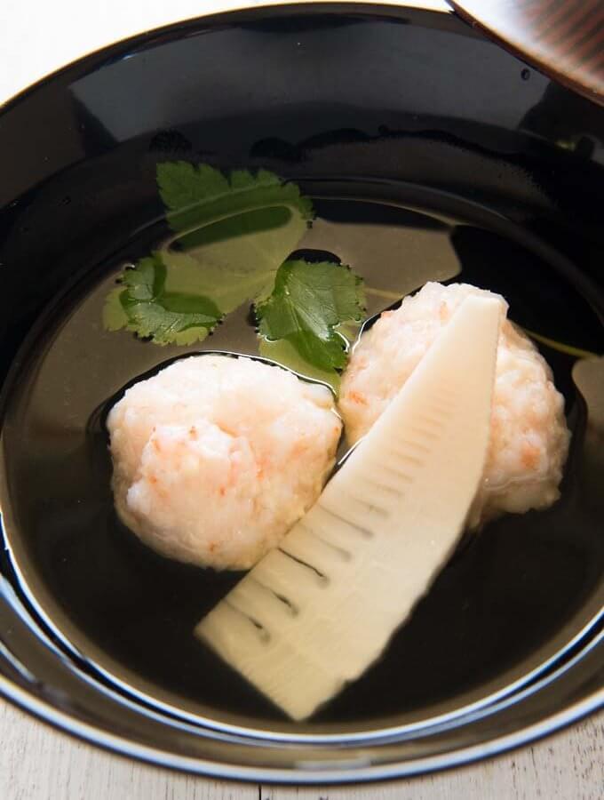 Shrimp Balls (Ebi-shinjo) in Clear Soup