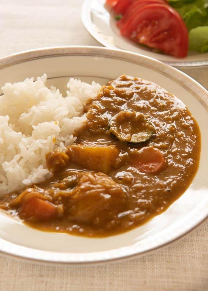 Hero shot of Home-made Vegetarian Curry Rice.