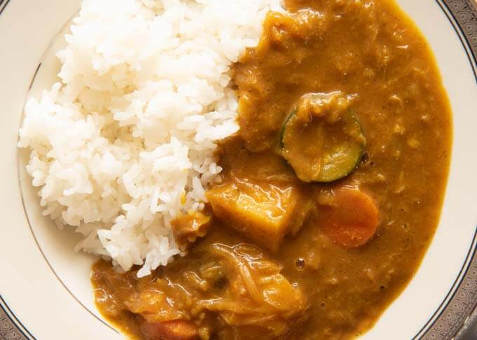 Top-down photo of Home-made Vegetarian Curry with rice.