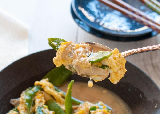 A spoonful of Japanese Style Scrambled Eggs (Tamago Toji).
