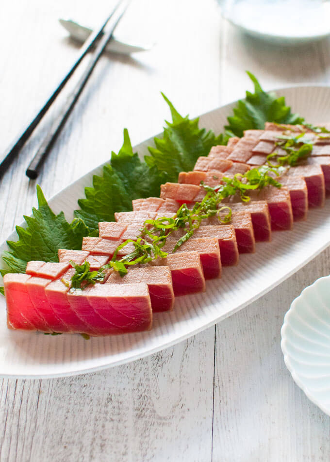 Hero shot of Marinated Tuna Sashimi.