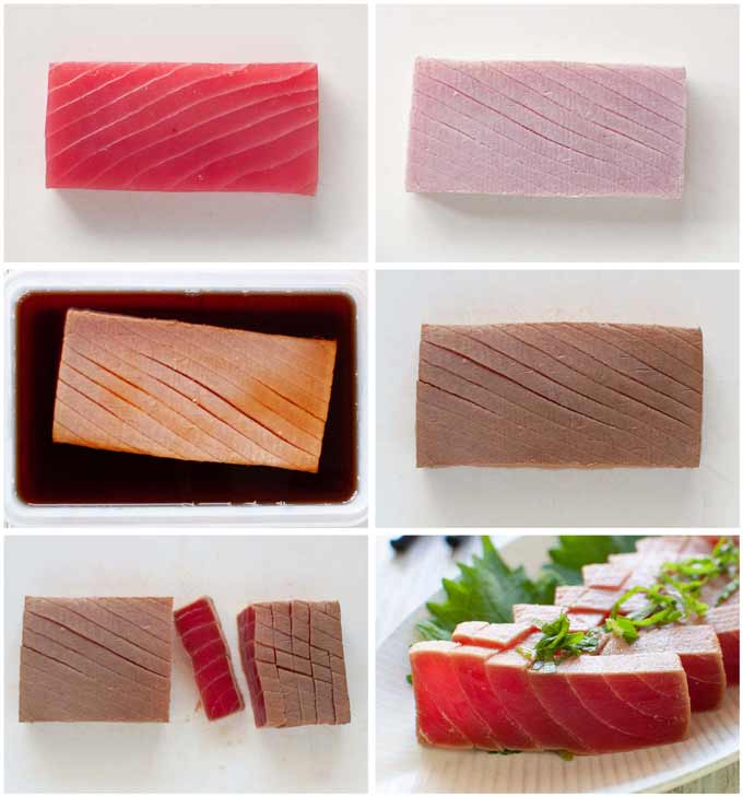 Step-by-step photo of how to scald and marinate a block of tuna.
