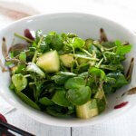Watercress and cucumber salad dressed in Wasabi Dressing.