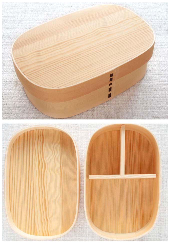 Traditional Japanese Magewappa (wood craft) bento box.